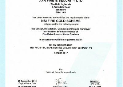 NSI FIRE Gold Certificate